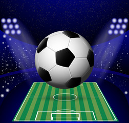 eps 10 vector 3d ball isolated on football field with full stadium, spotlights background. Soccer advertising poster for web, print. World soccer tournament 2018 banner. Sport event design concept