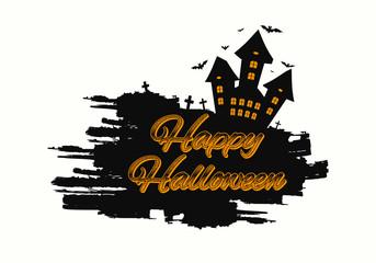 Happy Halloween message design background. Grunge vector illustration