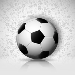 eps10 vector 3d football ball isolated on gray ornament background with mirror reflection. Editable sport poster for web, print. Russia World soccer 2018 advertising banner. Sport event presentation