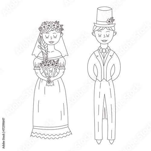 Bride and groom doodle characters