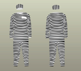 Prison uniform. striped hat, t shirt and pants. vector illustration