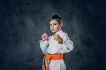 Preschooler boy dressed in a white karate kimono.