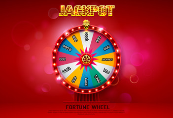 fortune wheel spinning  on bokeh background