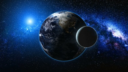 Wall Mural - Sunrise view from space on Planet Earth and Moon. World rotating on its axis among stars. High detailed 4k 3D Render animation. Elements of this image furnished by NASA. Astronomy and science concept.