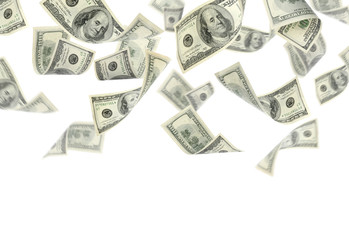 Flying money on white background