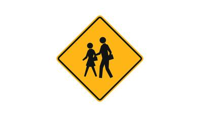 People crossing warning sign ahead