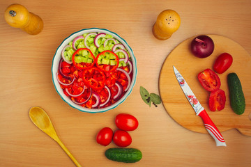 salad of cucumber and tomato cooking, spices