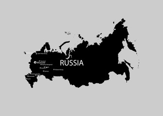 eps 10 vector Russia map isolated on gray. Russian Federation country border contour with biggest cities landmarks. Russia world football sport event promotional web, print banner. Welcome to Russia