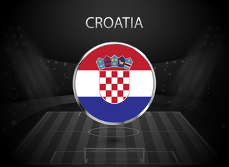 eps 10 vector Croatia flag button isolated on black and white stadium background. Croatian national symbol in silver chrome ring. State logo sign for web, print. Original colors graphic concept icon
