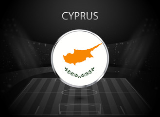 eps 10 vector Cyprus flag button isolated on black and white stadium background. Cypriot national symbol in silver chrome ring. State logo sign for web, print. Original colors graphic design concept