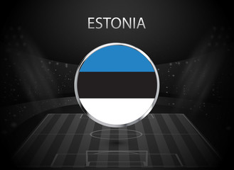 eps 10 vector Estonia flag button isolated on black and white stadium background. Estonian national symbol in silver chrome ring. State logo sign for web, print. Original colors graphic concept icon
