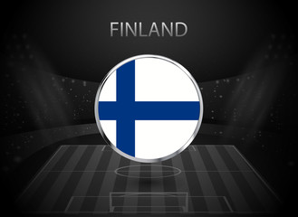 eps 10 vector Finland flag button isolated on black and white stadium background. Finn national symbol in silver chrome ring. State logo sign for web, print. Original color graphic design concept icon