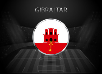 eps 10 vector Gibraltar flag button isolated on black and white stadium background. Gibraltarian national symbol in silver chrome ring. State logo sign for web, print. Original colors graphic concept