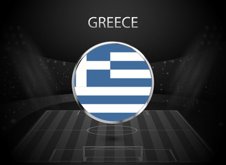 eps 10 vector Greece flag button isolated on black and white stadium background. Greek national symbol in silver chrome ring. State logo sign for web, print. Original color graphic design concept icon