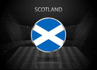 eps 10 vector Scotland flag button isolated on black and white stadium background. Scottish national symbol in silver chrome ring. State logo sign for web, print. Original colors graphic concept icon
