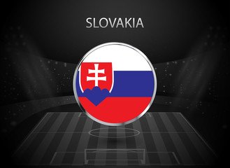 eps 10 vector Slovakia flag button isolated on black and white stadium background. Slovak national symbol in silver chrome ring. State logo sign for web, print. Original colors graphic design concept
