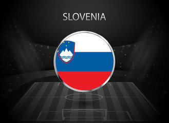 eps 10 vector Slovenia flag button isolated on black and white stadium background. Slovenian national symbol in silver chrome ring. State logo sign for web, print. Original colors graphic concept icon