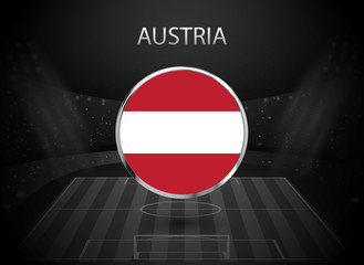 eps 10 vector Austria flag button isolated on black and white stadium background. Austrian national symbol in silver chrome ring. State logo sign for web, print. Original colors graphic design concept