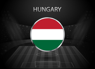 eps10 vector Hungary flag button isolated on black and white stadium background. Hungarian national symbol in silver chrome ring. State logo sign for web, print. Original colors graphic design concept