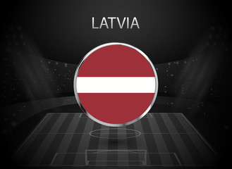 eps 10 vector Latvia flag button isolated on black and white stadium background. Latvian national symbol in silver chrome ring. State logo sign for web, print. Original colors graphic design concept