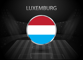 eps 10 vector Luxembourg flag button isolated on black and white stadium background. Luxembourgish national symbol in silver chrome ring. State logo sign for web, print. Original colors graphic design