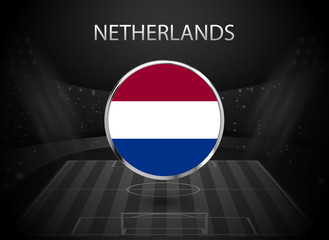 eps 10 vector Netherlands flag button isolated on black and white stadium background. Dutch national symbol in silver chrome ring. State logo sign for web, print. Original color graphic design concept