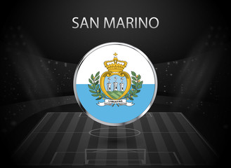 eps 10 vector San Marino flag button isolated on black and white stadium background. Sammarinese national symbol in silver chrome ring. State logo sign for web, print. Original colors design concept
