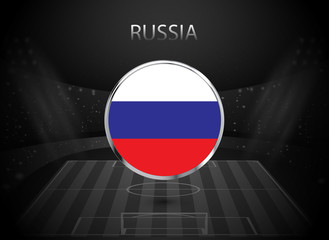 eps 10 vector Russia flag button isolated on black and white stadium background. Russian national symbol in silver chrome ring. State logo sign for web, print. Original color graphic design concept
