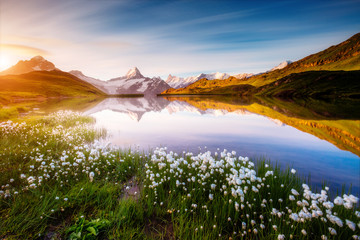 Great view of Mt. Schreckhorn and Wetterhorn above Bachalpsee lake. Grindelwald, Switzerland. Europe.