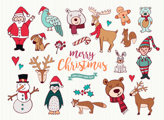 Christmas new year cute doodle cartoon collection