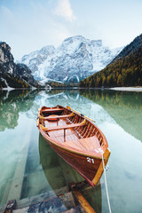 Great alpine lake Braies. Location place Dolomiti, national park Fanes-Sennes-Braies, Italy.