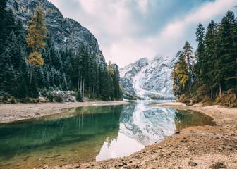 Great alpine lake Braies (Pragser Wildsee). Location place Dolomiti, national park Fanes-Sennes-Braies, South Tyrol, Italy.