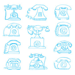 Sketch of set retro phone isolated on white background. Vector illustration.