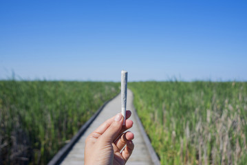 Hand holding a cannabis joint against trail and blue sky landscape