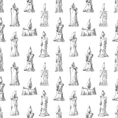 Hand drawn of burning candles. Seamless pattern. Vector illustration of a sketch style.