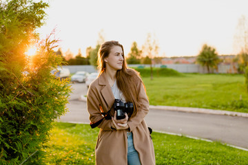 Woman photographer with long hair