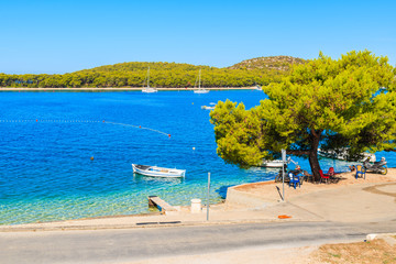 View of sea coast and road in Rogoznica  town, Dalmatia, Croatia