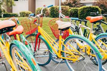 coloful bikes of google campus, california