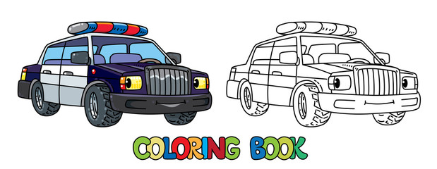 Funny small police car with eyes. Coloring book