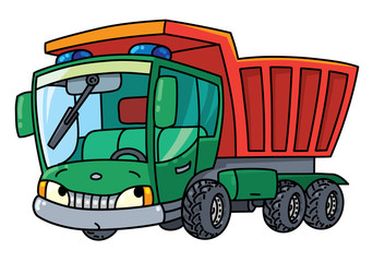 Funny small dump truck with eyes