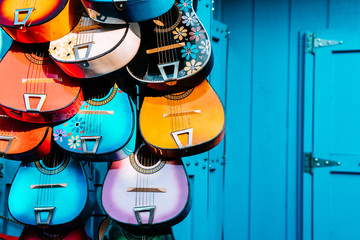 multi colored mexican guitars Wall mural