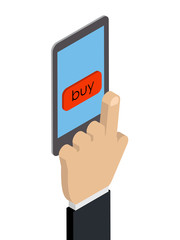 Purchases via phone. Isometry, hand-press the buy button on the phone