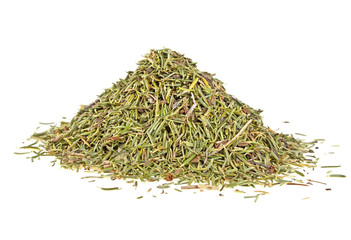 Heap of dry thyme isolated on a white background