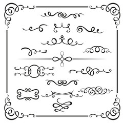 Graphic elements calligraphic vector sets for designers - patterns, designs, monograms and curlicues, arrows. For weddings,Valentine's day,holidays,baby design,birthday.