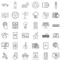 Analysis icons set, outline style