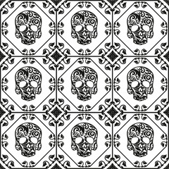 with ornament and flower pattern. Seamless pattern.