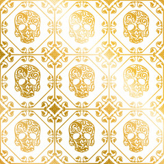 Seamless gold ornament of skulls with flower pattern..