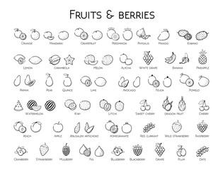 Outline black linear web icon set - Fruit & berries Thin bold Line food Icons For logo, label Orange banana melon apple, blueberry, pineapple pomelo, kiwi peach, fig kiwi, tropical collection on white