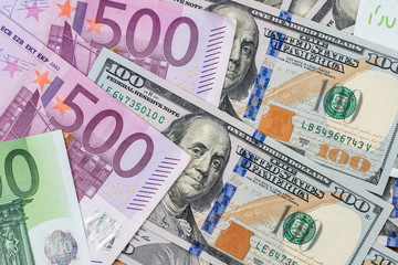 pile of dollar and euro banknote as background