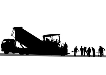 Wall Mural - Road workers and construction equipment on a white background